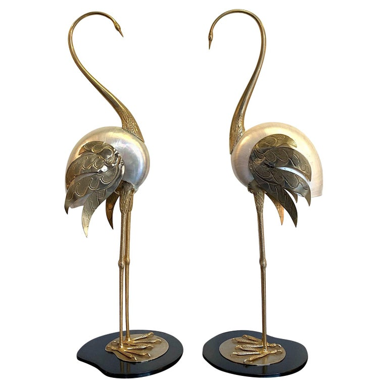 Lovely Pair of 1970s Brass and Real Nautilus Shell Flamingos by Antonio Pavia For Sale