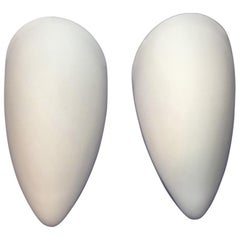 Lovely Pair of 1970s Milk Glass Sconces in Shield Form