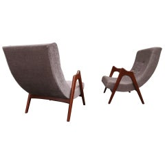 Lovely Pair of Adrian Pearsall Sculptural Walnut Scoop Chairs