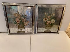 Lovely Pair of Antique Floral Églomisé Mirror Paintings of Flowers in Urns