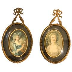 Lovely Pair of Antique Portrait Miniatures in Fancy Brass Frames