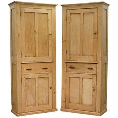 Lovely Pair of Antique Victorian circa 1880 Pine Kitchen Pot Cupboards + Drawers