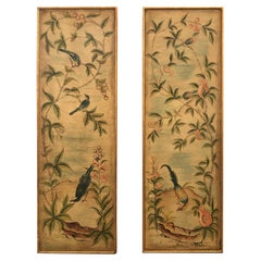 Lovely Pair of Asian Painted Panels with Exotic Birds