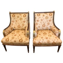 Lovely Pair of Carved Gilded Wood and Upholstered French Bergère