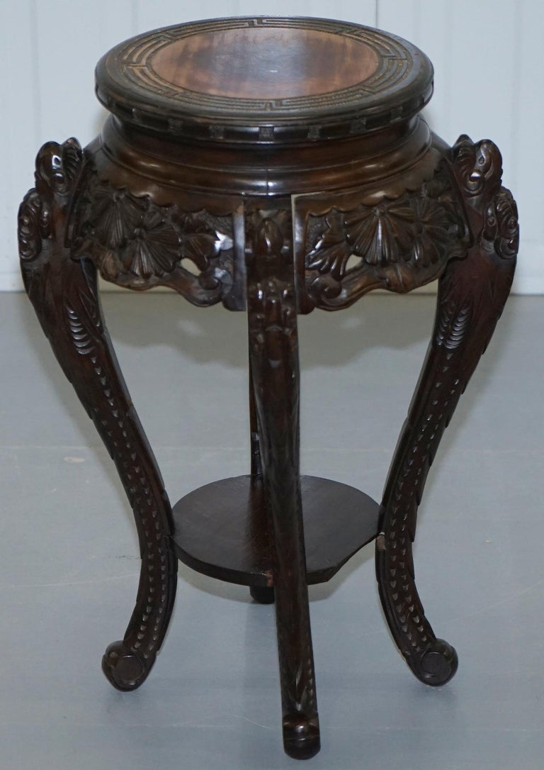 Lovely Pair of Chinese Dragon Carved Wood Jardiniere Stands Very Old Distressed For Sale 8