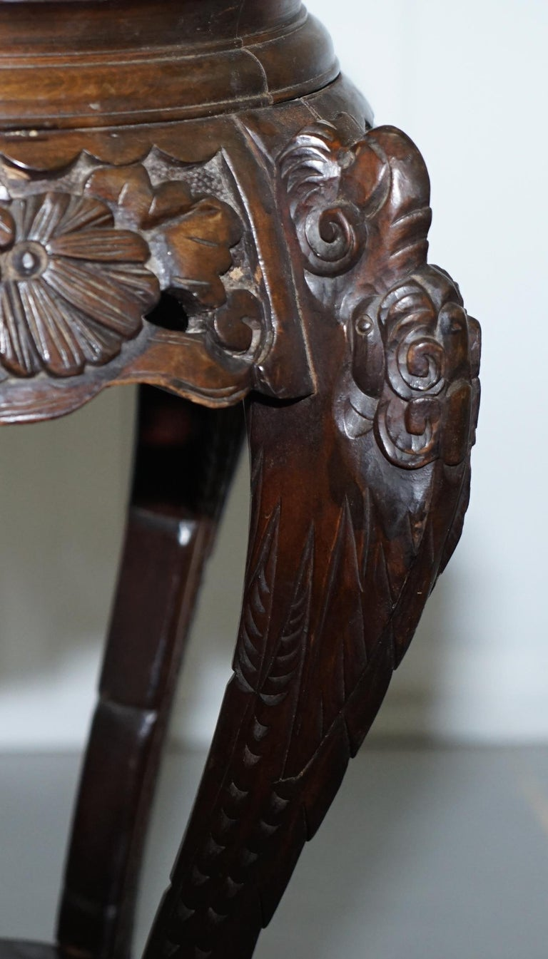 Lovely Pair Of Chinese Dragon Carved Wood Jardiniere
