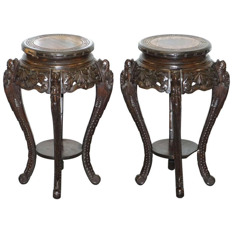 Lovely Pair of Chinese Dragon Carved Wood Jardiniere Stands Very Old Distressed For Sale