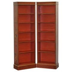 Lovely Pair of circa 1880-1900 Chinese Red Lacquered Gold Gilt Painted Bookcases