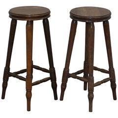 Lovely Pair of circa 1950s English Oak Bar Stools Nice Timber Patina