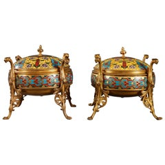 "Lovely Pair of ""Cloisonné"" Boxes by F. Barbedienne"