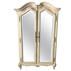 Lovely Pair of Cream Painted and Mirrored Armoires