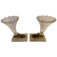 Lovely Pair of Cut Glass Marble and Bronze Cornucopia