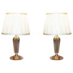 Lovely Pair of Cut Glass Small Table Lamps with Original Shades in Nos Condition