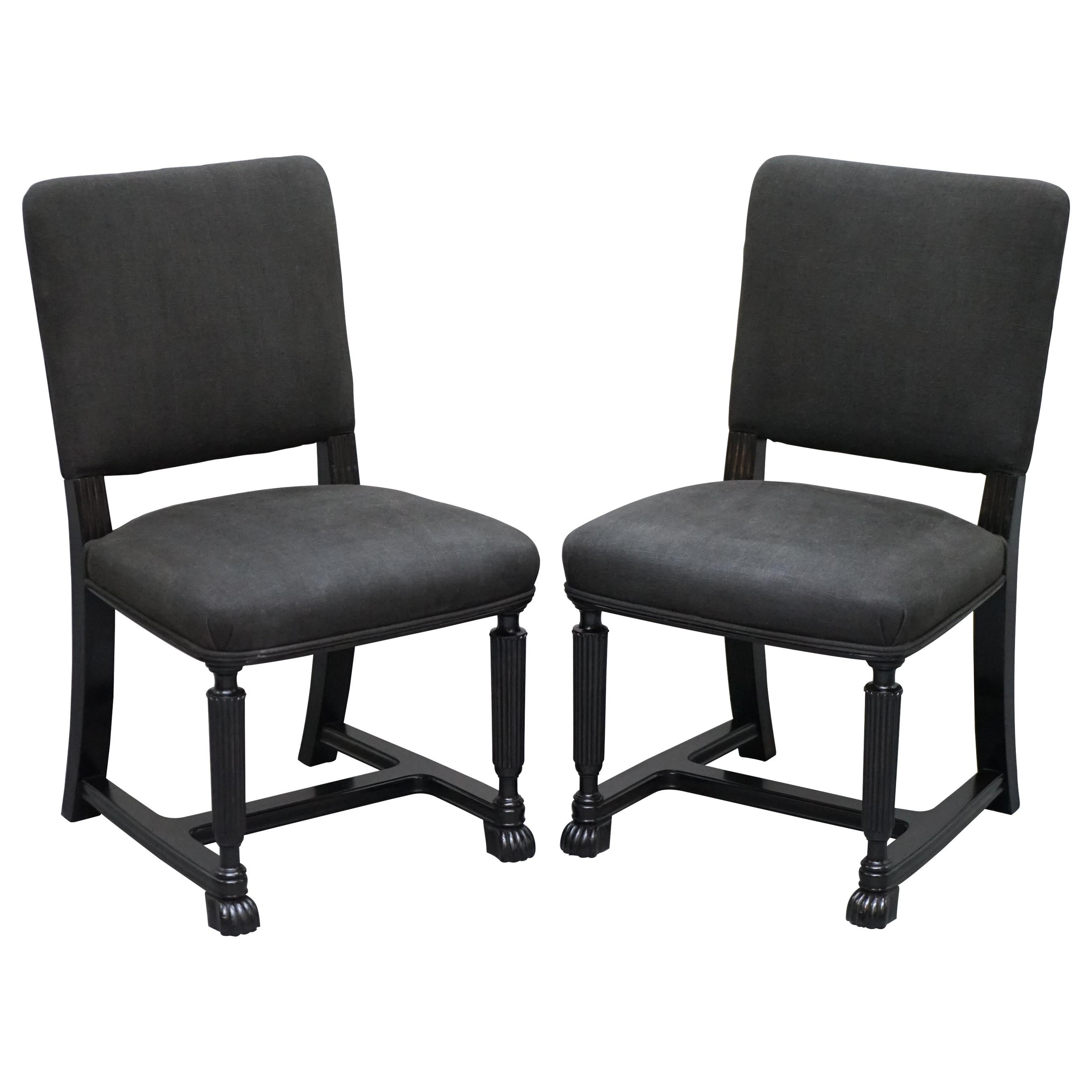 Lovely Pair of Eichholtz Occasional Chairs Ebonized Frames Grey Linen Upholstery