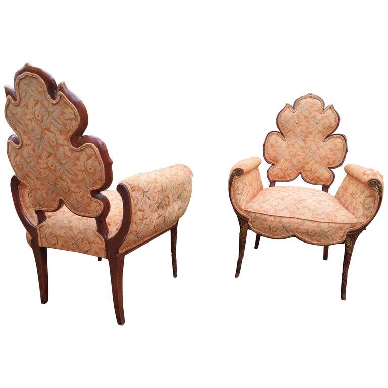 Lovely Pair of Flower Back Grosfeld House Armchairs Hollywood Regency For Sale