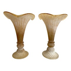 Lovely Pair of Fluted Murano Glass Lamps with Mottled, Ribbed Finish