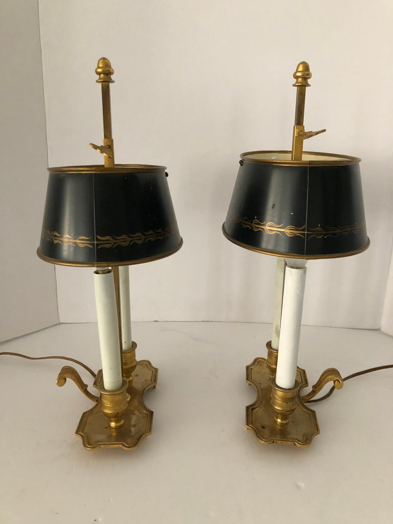 Lovely Pair of French Bouillotte Lamps In Excellent Condition For Sale In Hopewell, NJ