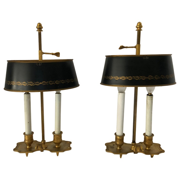 Lovely Pair of French Bouillotte Lamps For Sale