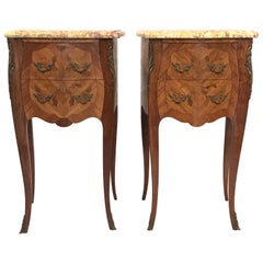 Lovely Pair of French Inlaid Kingwood Nightstands with Marble Tops
