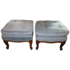 Lovely Pair of French Provincial Square Ottoman Bench Mid-Century Modern