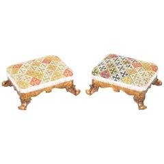 Lovely Pair of George III circa 1800 Walnut & Kilim Embroidered Small Footstools