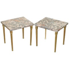 Lovely Pair of Gold Gilt Bronze Side Tables with Thick Heavy Purple Marble Tops