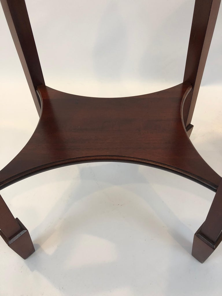 Lovely Pair of Heckman Oval Flame Mahogany Side Tables For Sale 3