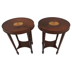 Lovely Pair of Heckman Oval Flame Mahogany Side Tables