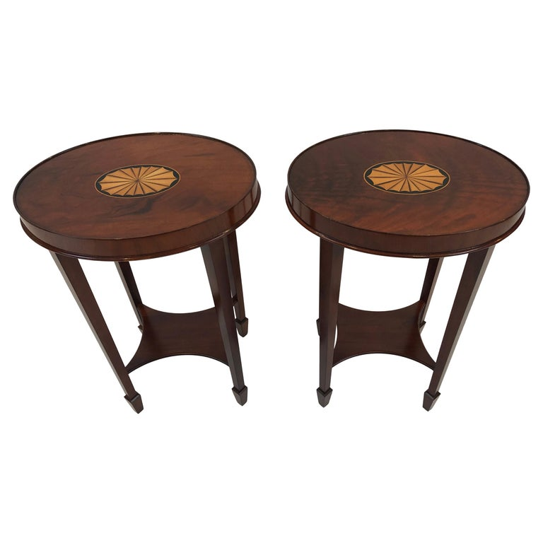 Lovely Pair of Heckman Oval Flame Mahogany Side Tables For Sale