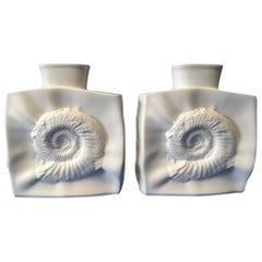 Lovely Pair of Hutschenreuther White Fossil Vases from Germany