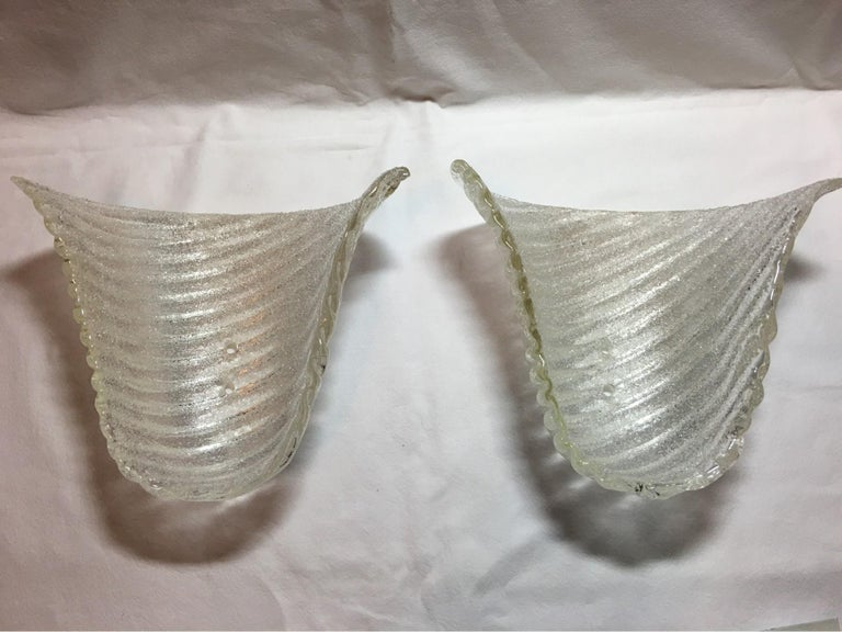 Lovely Pair of Italian Murano Glass Striped Ice Glass Sconces For Sale 6