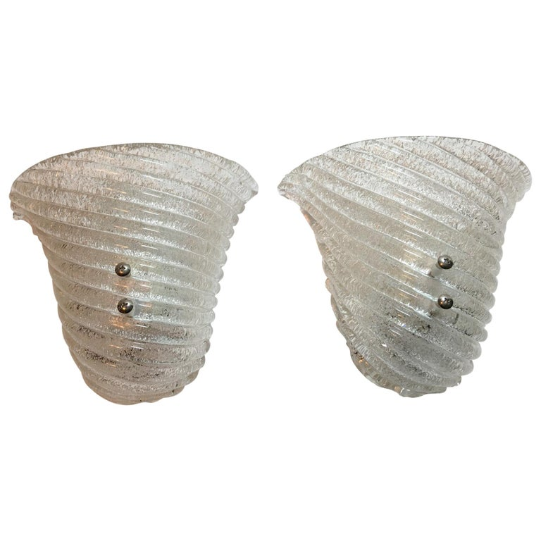 Lovely Pair of Italian Murano Glass Striped Ice Glass Sconces For Sale