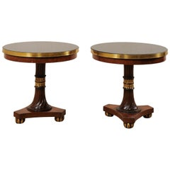 Lovely Pair of Italian Regency-Style Pedestal Side Tables with Granite Tops