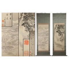 Lovely Pair of Japanese circa 1900-1915 Scroll Paintings Japan Tomobako