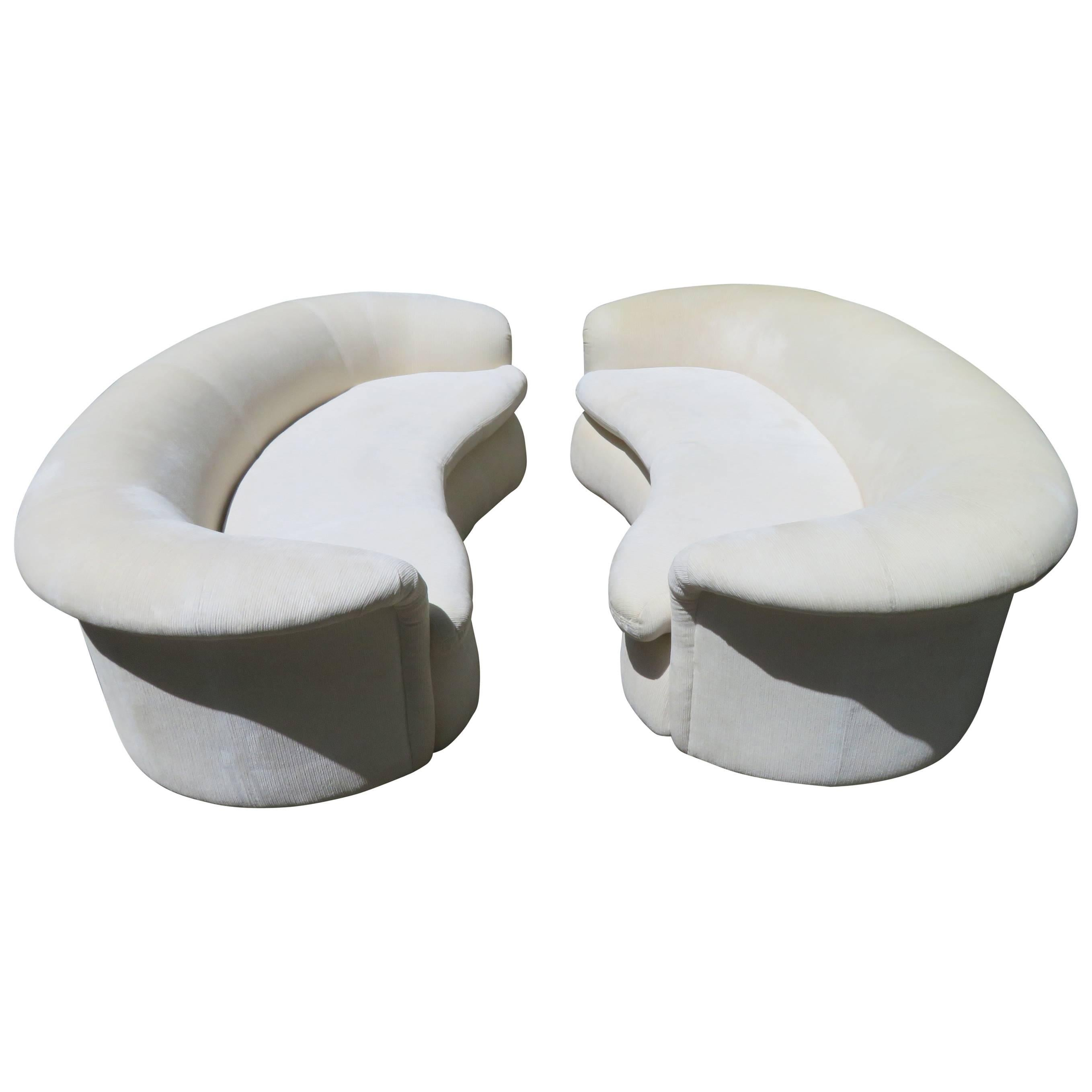 Lovely Pair of Kidney Shaped Curved Sofa Mid-Century Modern