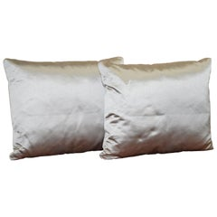 Lovely Pair of Large Silver Scatter Cushions from Fendi Sofa Luxury Silky Finish