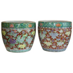 Lovely Pair of Late 19th Century Hand-Painted, Red and Green Jardinières