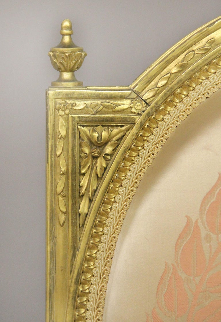 Hand-Carved Lovely Pair of Late 19th Century Louis XVI Style Giltwood Armchairs