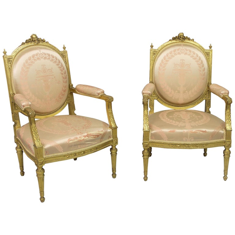 Lovely Pair of Late 19th Century Louis XVI Style Giltwood Armchairs