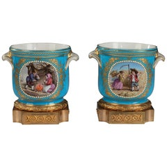 "Lovely Pair of Louis XVI Style ""Sèvres"" Glass-Coolers"