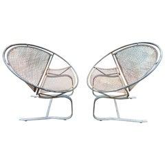 Lovely Pair of Maurizio Tempestini for Salterini Circular Radar Saucer Chairs