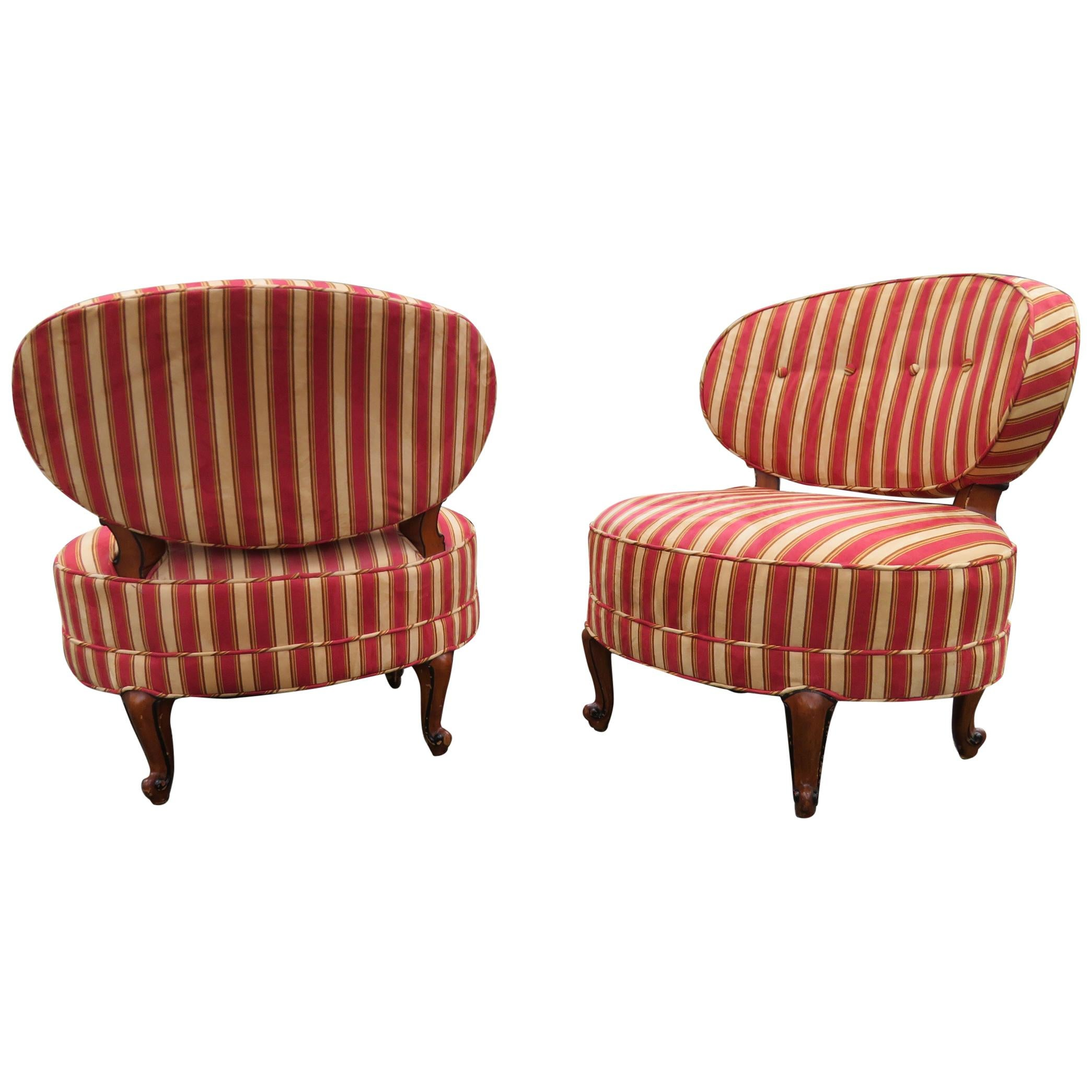 Lovely Pair of Napoleon Billy Haines Style Slipper Chairs Hollywood Regency