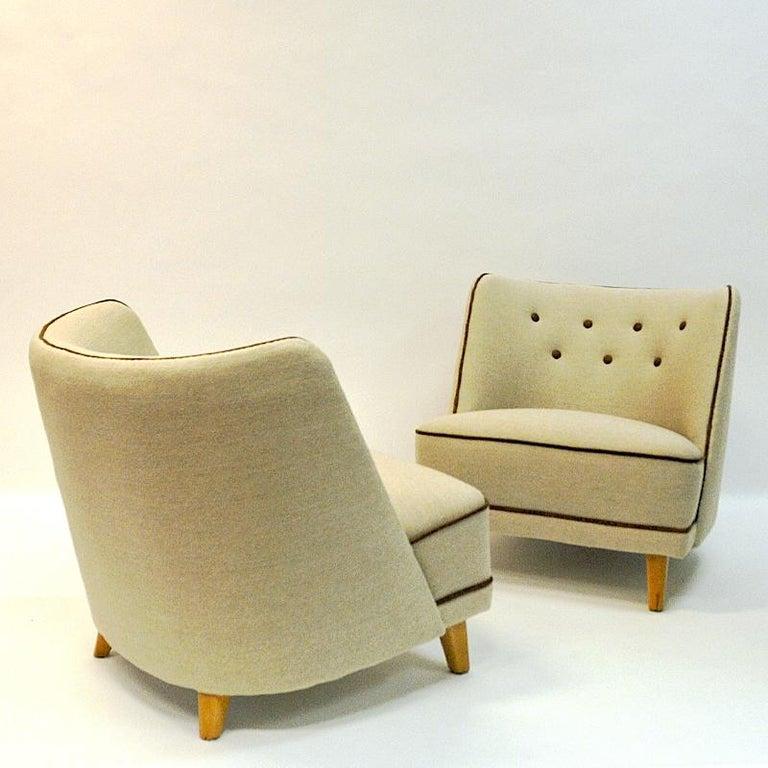 Woven Lovely Norwegian Pair of elm Easy Chairs by Møller & Stokke, 1940s For Sale