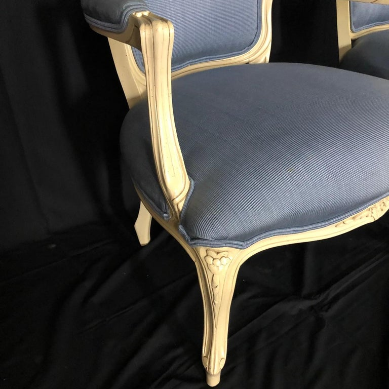 Mid-20th Century Lovely Pair of Painted Louis XV Style Bergère Armchairs For Sale