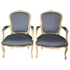 Lovely Pair of Painted Louis XV Style Bergère Armchairs