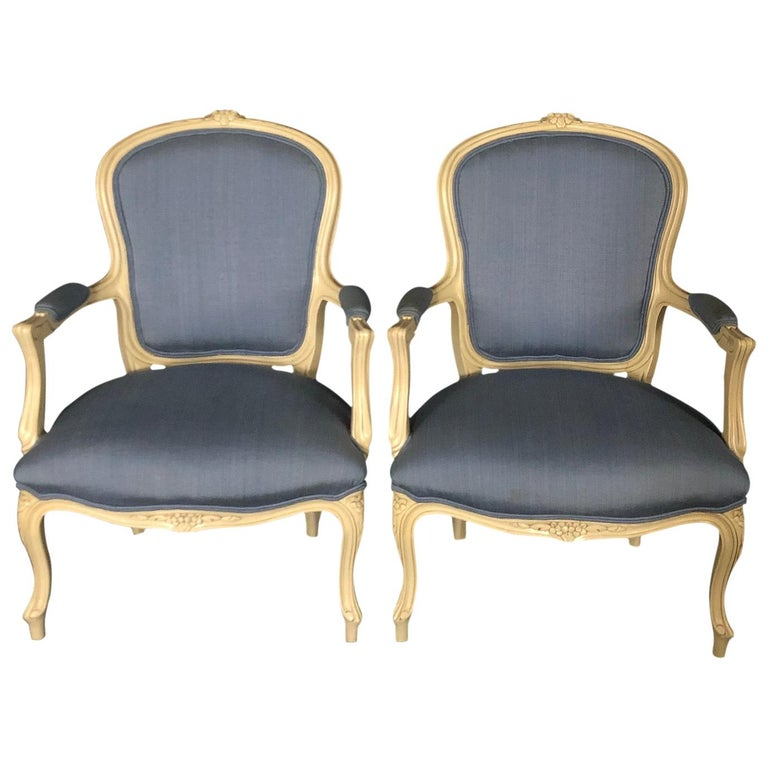 Lovely Pair of Painted Louis XV Style Bergère Armchairs For Sale