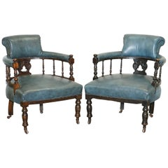 Lovely Pair of Regency Blue Leather circa 1900 Captains Office / Guest Armchairs