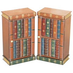 Lovely Pair of Side End Lamp Wine Table Sized Faux Book Library Study Cabinets