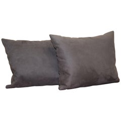 Lovely Pair of Soft Suede Large Grey Scatter Cushions from Fendi Sofa