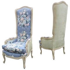 Lovely Pair of Statuesque French Country Wingback Chairs Midcentury